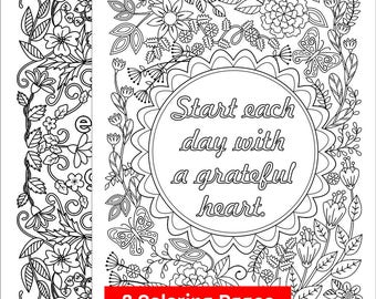 2 Coloring Pages with the message 'Start Each Day with a Grateful Heart'; Printable coloring pages for Grown-ups