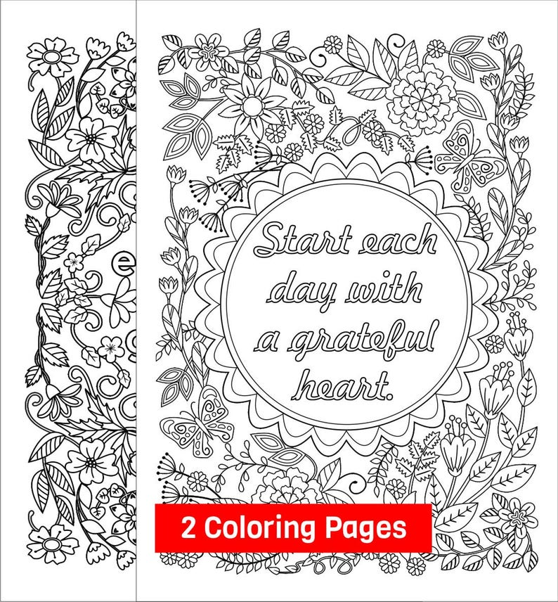 Start Each Day With A Grateful Heart Adult Coloring Pages Etsy