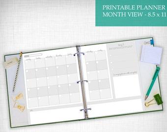 Printable Month View Calendar 8.5x11