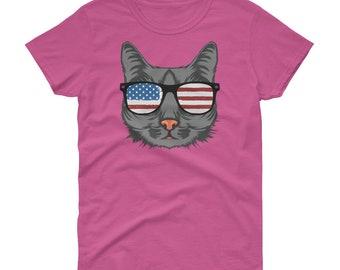 Cat Shirt, Cat Shirt For Women, Cat American Flag Shirt, Funny Cat Shirt, 4th Of July Shirt Women, 4th Of July Cat Shirt, Cat Lover Gift