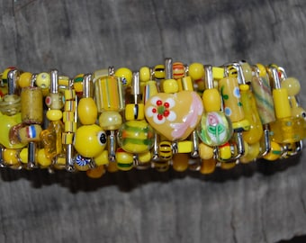 yellow safety pin bracelet