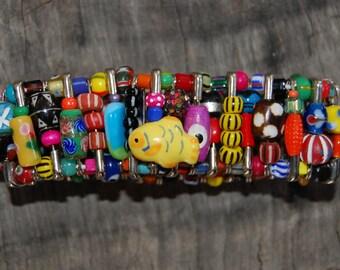 multi bright safety pin bracelet