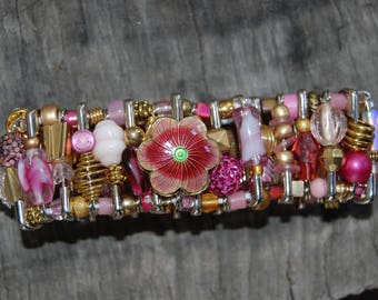 pink and gold safety pin bracelet