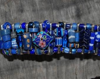 dark blue safety pin bracelet