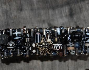 black with white safety pin bracelet