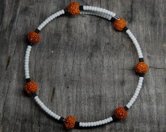 seed bead and nut bracelet