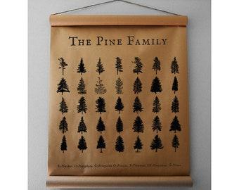 Pine Family Print - Kraft Paper Scroll - Farmhouse Scroll - Farmhouse Wall Decor - Kraft Paper Sign - Farmhouse Sign