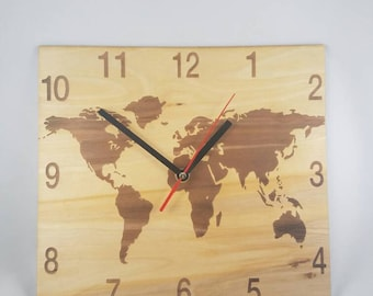 World map clock etsy world map clock wooden clock gumiabroncs Gallery