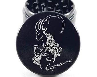 Large 2.5 inch Custom Zodiac Sign (Capricorn) Herb Grinder --Weed Grinder