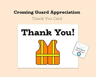 Printable DOWNLOAD - Thank You Card - School Crossing Guard Appreciation - From Students - Crossing Guard - DIY - Printable