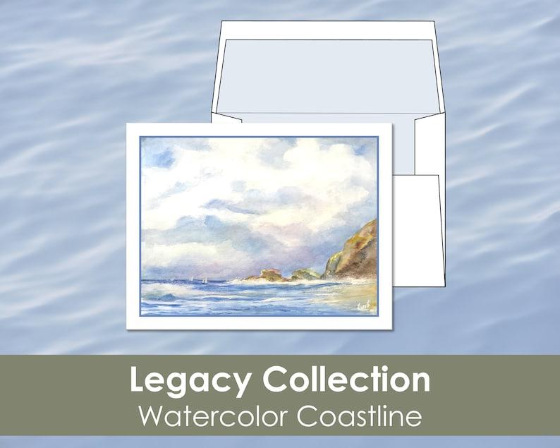 Original Art Prints Lined Envelopes Stationary Nautical Art 8 Blank Notecards Watercolor Paintings Linen Card Boats Coastline