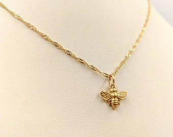 a8d122074256b4 24K Gold Vermeil Honey Bee 925 Necklace; Gold Bumble Bee; Small Gold Bee  Necklace; Gold Bumble Bee Pendant; Gold Bee Charm, Infinity Close