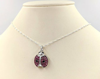 Ladybug Necklace-925 Sterling Silver and Abalone Shell Lady Bug w Sterling Silver Cable Chain /& Easy Grip Infinity Clasp and Link Close