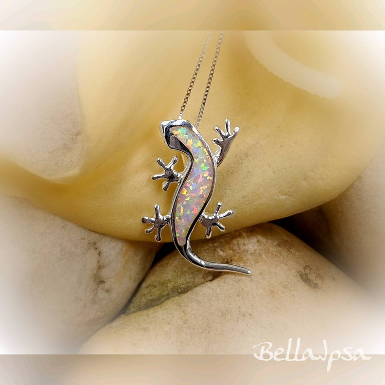 White Opal and 925 Sterling Silver Lizard Necklace;  Gecko Lizard Necklace; Silver /& White Opal Lizard Pendant; Salamander Infinity Close