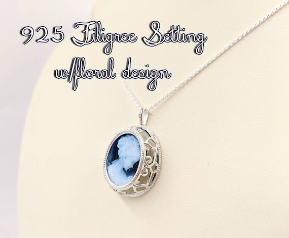 Blue Genuine Agate Cameo w 925 Marscaite Floral Setting Cameo Necklace; Real Classic Blue Victorian Cameo Necklace; Black Infinity Close