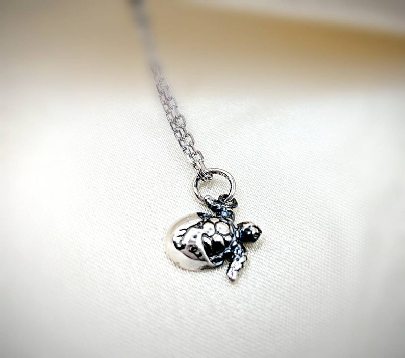 Infinity Close 925 Silver Turtle; Sterling Baby Sea Turtle Necklace; 925 Baby Turtle in Shell; 925 Hatching Turtle; Turtle Shell; Turtle