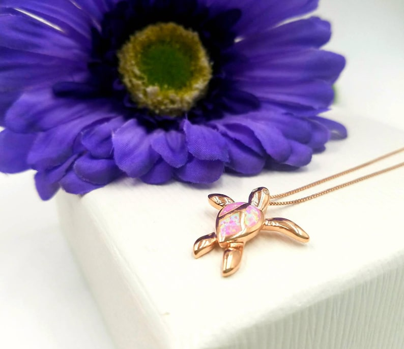 Adorable 925 Pink Opal Rose Gold Turtle Pendant w CZ Detail on Sterling and Rose Gold Box Chain Rose Gold Infinity Link and Sterling Clasp
