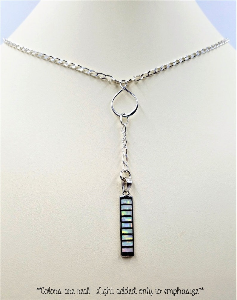 925 Sterling Silver Diamond Curb Chain Lariat Necklace with White Opal Bar Drop Pendant on a Sterling Silver Eternity Circle Center Piece