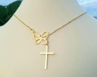 Movable Butterfly Infinity Necklace, 14K Gold Filled Lariat w Gold Vermeil Butterfly Center and 24K Gold Cross, Infinity Link Clasp & Close
