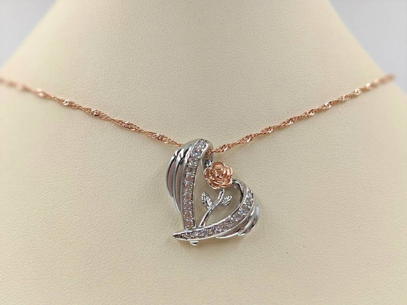 Infinity Close 925 Rose Gold Angel Wing Heart Necklace with Long Stem Rose; Rose Gold Rose and Wing Necklace; 925 Angel Wing Heart Necklace