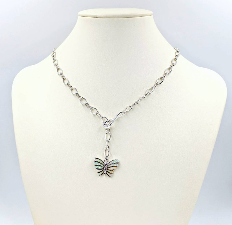 Opal Butterfly Infinity Necklace Infinity Center Infinity Chain; Butterfly Lariat Clasp /& Close 925 Silver White Fire Opal Butterfly