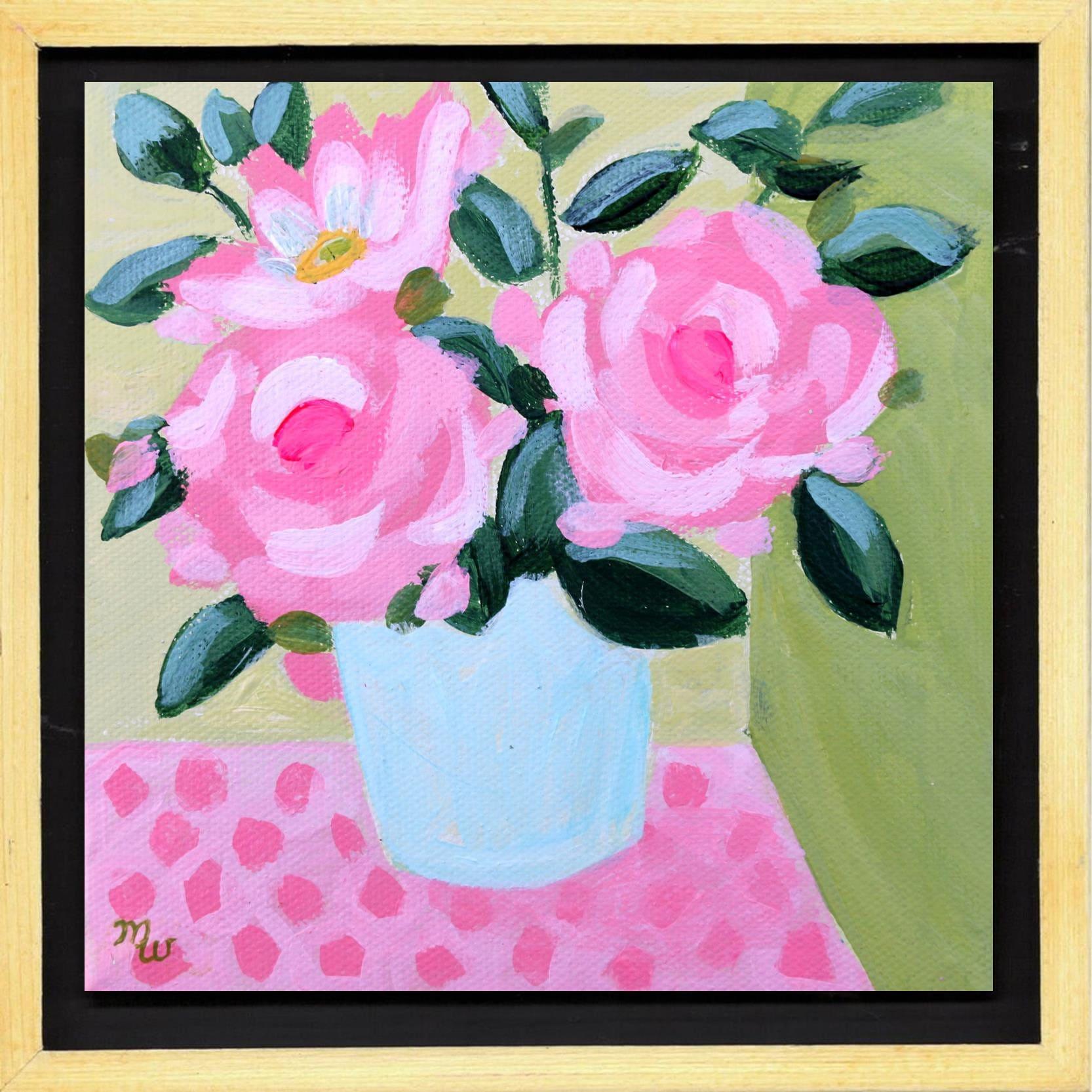 Pink Roses Flower Painting By Merrill Weber Framed Original Etsy