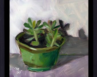 SUCCULENTS, Framed Original Oil Painting on gessobord, by Merrill Weber, Jade Plant, Succulent, Cactus, Cacti Nature Painting