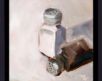 Salt and Pepper, Original Oil Painting on Gessobord, by Pennsylvania Artist, Merrill Weber, Small Painting, 6x6, Still Life Painting, FRAMED