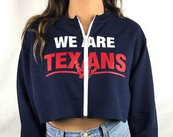 ccb2d09fc31 Houston Texans Cropped Zip-Up Sweatshirt