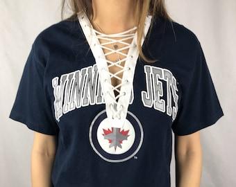 Vintage Winnipeg Jets Lace-up Tee (M)