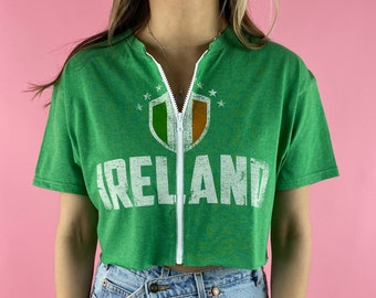 Vintage Irish Pub Cropped Zip-up Tee XL