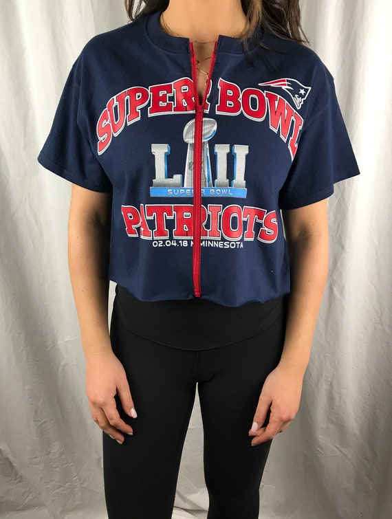 1af2de2bbe25e New England Patriots Cropped Zip-up Tee S