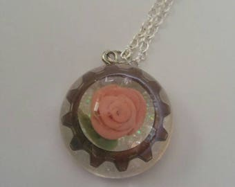 Steampunk Pink Rose and Gear Resin Necklace