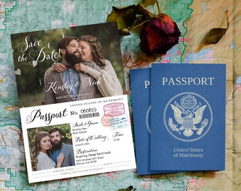 Vintage Passport-Style Save the Date OR Wedding Invitation, Editable, Printable Template, Customize for any event!