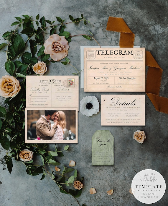 Telegram Wedding Invitation Suite Printable Telegram