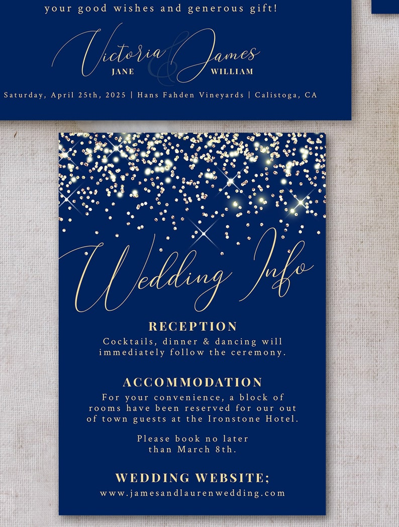 Printable Editable Template Elegant Instant Download! Navy and Gold Wedding Invitation Suite