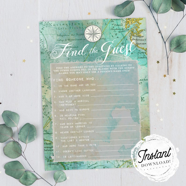 Instant Download! Green Map Travel Theme Bridal Shower Game Find the Guest Printable Wedding Shower Game