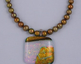 Gold freshwater pearls with dichroic glass pendant