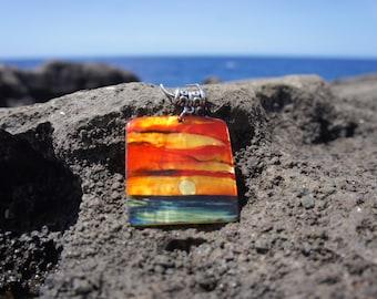 Rectangle Hawaiian Sunset Necklace