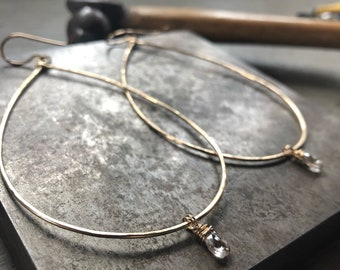 Large Gold Hoops with Smokey Quartz