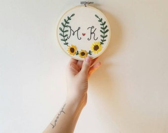 Custom Embroidery Hoop - Sunflowers And Initials - Personalized Wall Art - Personalized Gift - Home Decor - Anniversary Gift - Wedding Gift