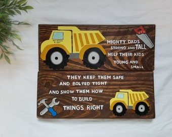 "Rustic ""Mighty Dads"" Father and Son Truck and Tool Nursery Wall Decor"