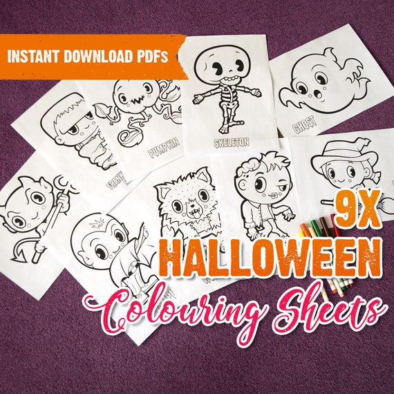 Halloween Coloring Pages. 9X Halloween Colouring Page. Instant Etsy