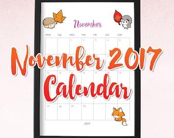 November Printable / Printable Calendar 2017 Monthly / Calendar Printable / November Calendar Printable / Printable 2017 /November Calendar