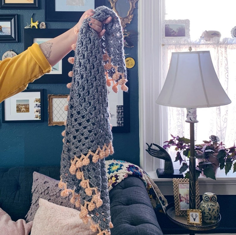 READY TO SHIP . Pom Pom baby blanket . Hand Crocheted . image 0