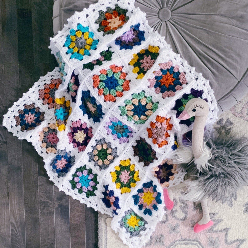 READY TO SHIP . vintage inspired granny square baby blanket . image 0