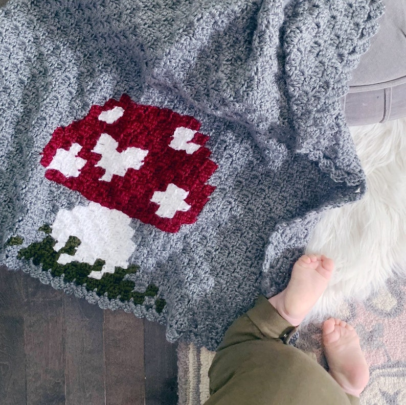 READY TO SHIP . Hand crocheted finished baby blanket. mushroom image 0
