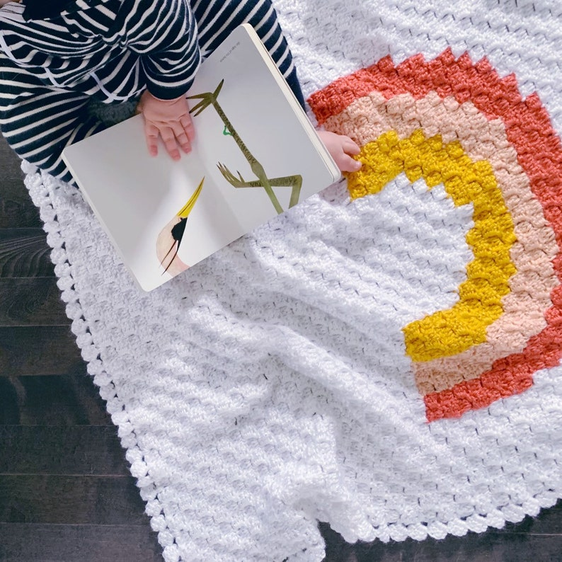 READY TO SHIP . Hand crocheted finished baby blanket. Rainbow image 0