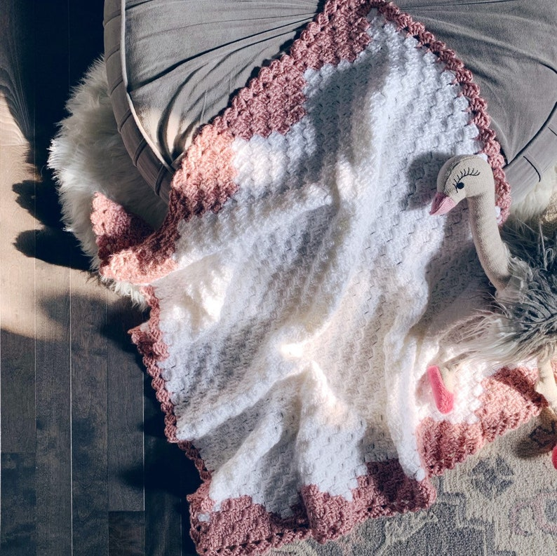 READY TO SHIP . Hand crocheted finished baby blanket. Rose image 0