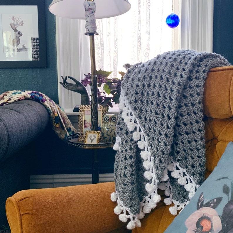READY TO SHIP . Pom Pom throw blanket . Hand Crocheted . image 0